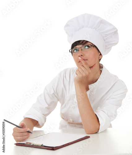 female chef thinking, looking up