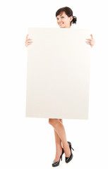 young woman with empty board