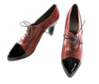 Black patent leather toe maroon lace-up pumps