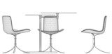 Modern Table and Three Armchairs 07