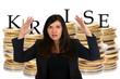 Euro Münzen - Krise - geschockte Frau