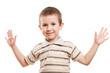 Smiling child gesturing