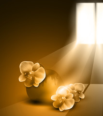 vector monochrome (sepia) romantic background with vase and orch