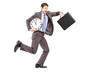 Full length portrait of a young businessman running late with a