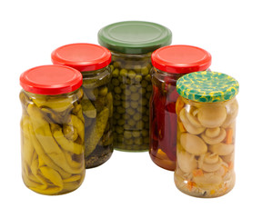 mushrooms peppers cucumbers tomatoes preserve jar