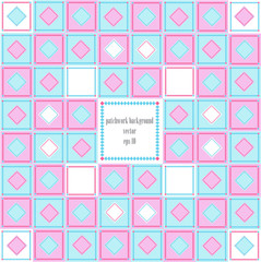 vintage vector patchwork frame in pink and blue