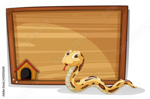 A snake in front of an empty board