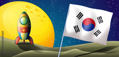 The flag of Korea near an airship