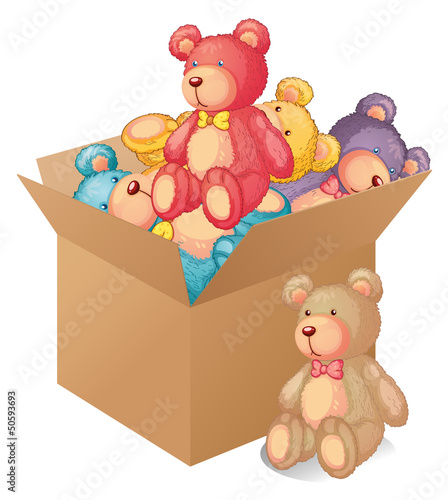 Deurstickers Beren A box full of toys