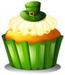 A cupcake with a green hat