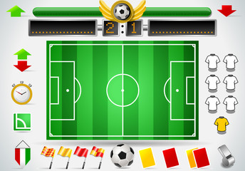 Info Graphic Set of Soccer Field and Icons