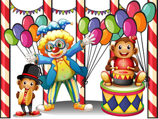 A carnival with a clown and monkeys