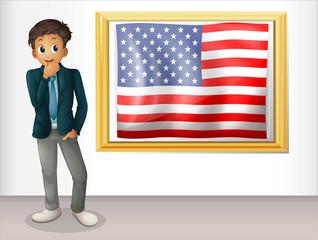 A framed flag of the USA beside a man