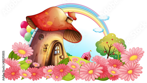 Fotobehang Magische wereld A mushroom house with a garden of flowers