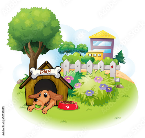 A dog inside a doghouse across the big buildings