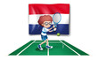 The flag of Netherlands at the back of a tennis player
