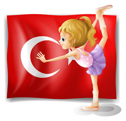A girl with the flag of Turkey