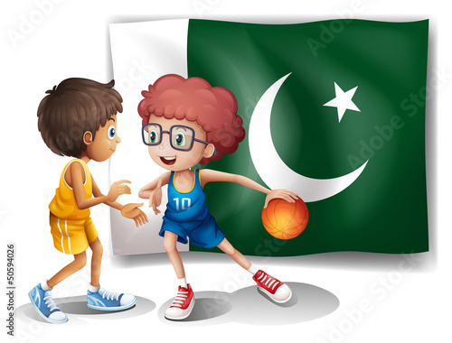 The flag of Pakistan and the basketball players