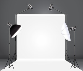 Vector photography studio with a light set up and backdrop