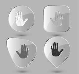 Stop hand. Glass buttons. Vector illustration.