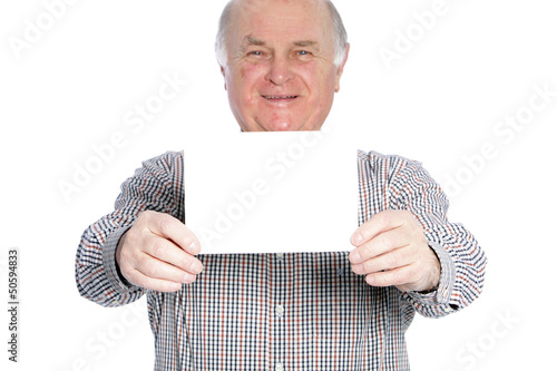 Old man with white paper
