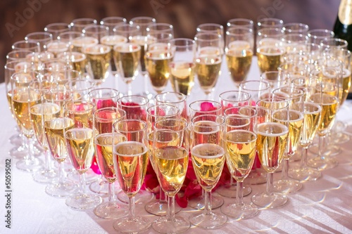 glasses of champagne on festive table