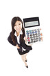 smart business woman holding calculator