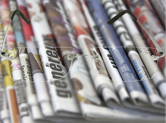 vision nette, verres correcteurs sur journaux