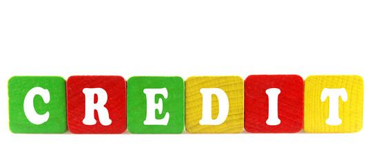 credit - isolated text in wooden building blocks