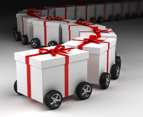 Gift boxes convoy on wheels, concept