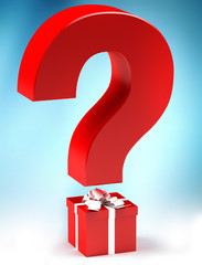 Gift with questionmark, surprise concept