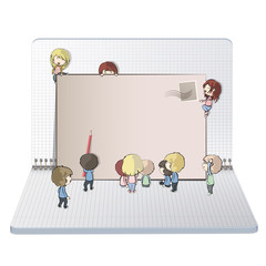 Open notebook with kids around post.