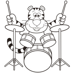 Cartoon Tiger Playing Drums