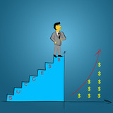 man, person climbing stairs with arrow . To Success. Businessman