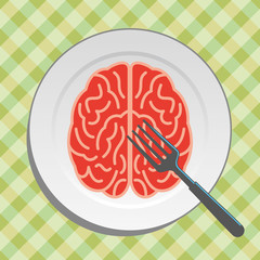 Brain food on plate with fork and knife - vector