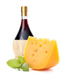 Red wine bottle and  cheese still life
