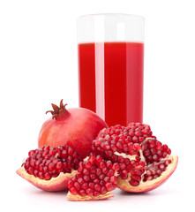 Pomegranate fruit juice in glass