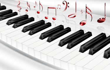 Klaviertastatur mit Noten