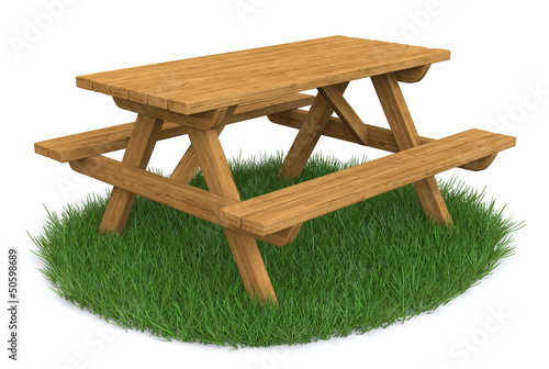 Isolated Picnic Table On Grass
