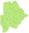 Map of Botswana - Africa - in a mosaic of green squares