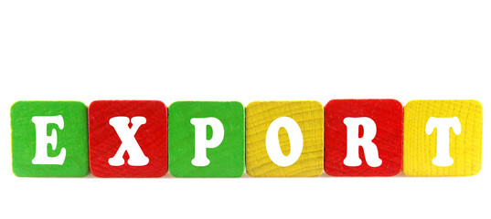export - isolated text in wooden building blocks