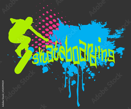 Abstract vector background with skateboarder silhouette