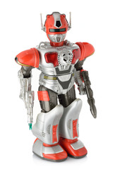 Toy Robot on Isolated White Background
