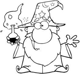 Outlined Crazy Wizard Holding A Green Magic Potion