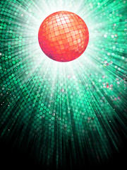 Red disco ball on light mosaic detail. EPS 10