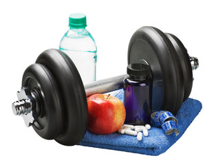 dumbbells and accessories for fitness