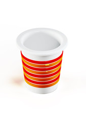 3d plastic cup isolated on white