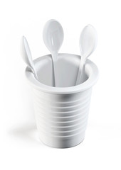 3d plastic cup with spoons isolated on white