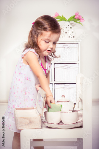 Girl making tea