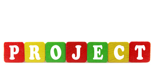 project - isolated text in wooden building blocks